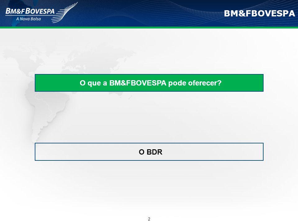 BM&FBOVESPA O que a BM&FBOVESPA pode oferecer? O BDR 2