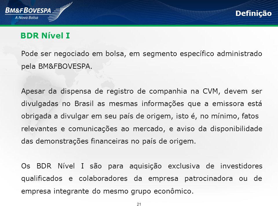 BDR Nível I Pode ser negociado em bolsa, em segmento específico administrado pela BM&FBOVESPA. Apesar da dispensa de registro de companhia na CVM, dev
