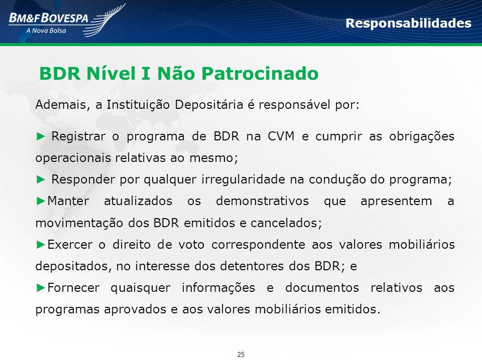 BDR Nível I Não Patrocinado Responsabilidades Ademais, a Instituição Depositária é responsável por: ► Registrar o programa de BDR na CVM e cumprir as