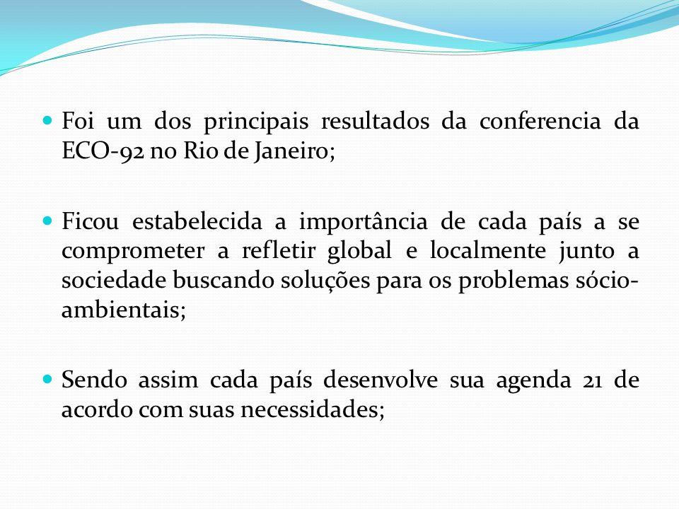 Foi um dos principais resultados da conferencia da ECO-92 no Rio de Janeiro; Ficou estabelecida a importância de cada país a se comprometer a refletir