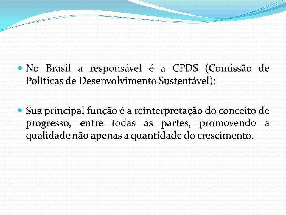 No Brasil a responsável é a CPDS (Comissão de Políticas de Desenvolvimento Sustentável); Sua principal função é a reinterpretação do conceito de progr