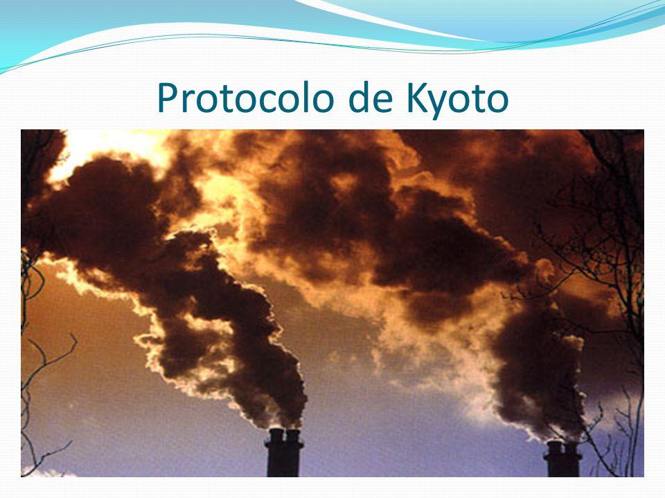 O Protocolo de Kyoto é um tratado internacional com compromissos mais rígidos para redução da emissão dos gases causadores do efeito estufa que tem como conseqüência o aquecimento global; Foi estabelecido em 1997 na cidade de Kyoto- Japão, onde 84 países aderiram ao protocolo;