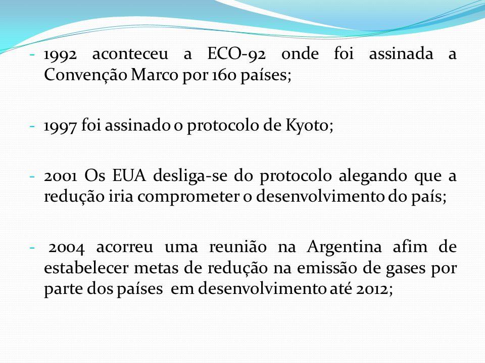 - 1992 aconteceu a ECO-92 onde foi assinada a Convenção Marco por 160 países; - 1997 foi assinado o protocolo de Kyoto; - 2001 Os EUA desliga-se do pr