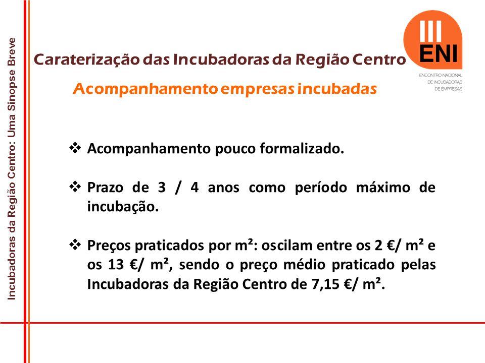 Incubadoras da Região Centro: Uma Sinopse Breve Caraterização das Incubadoras da Região Centro Acompanhamento empresas incubadas  Acompanhamento pouco formalizado.