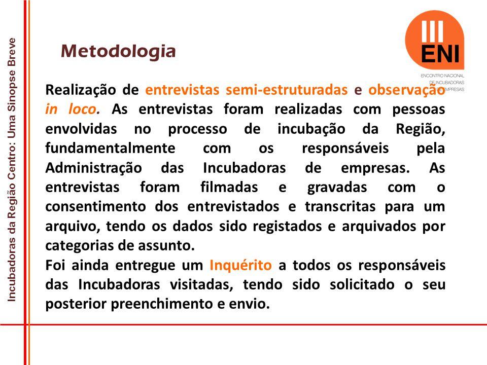 Incubadoras da Região Centro: Uma Sinopse Breve Metodologia Realização de entrevistas semi-estruturadas e observação in loco.