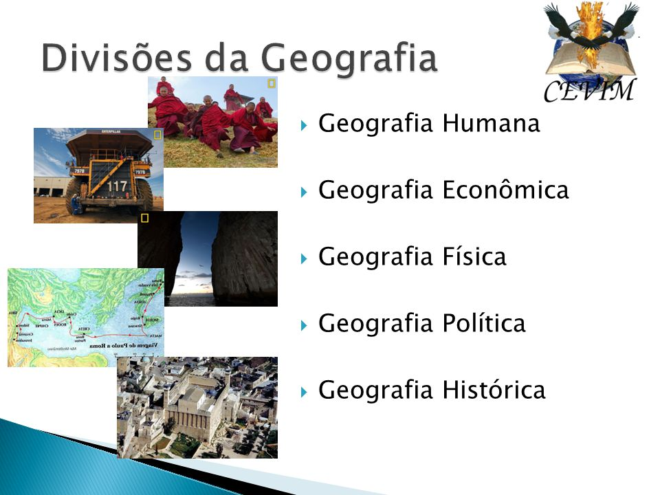  Geografia Humana  Geografia Econômica  Geografia Física  Geografia Política  Geografia Histórica
