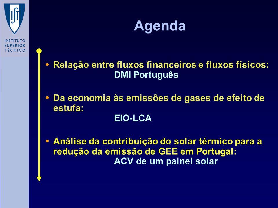 Agenda Relação entre fluxos financeiros e fluxos físicos: DMI Português Da economia às emissões de gases de efeito de estufa: EIO-LCA Análise da contribuição do solar térmico para a redução da emissão de GEE em Portugal: ACV de um painel solar