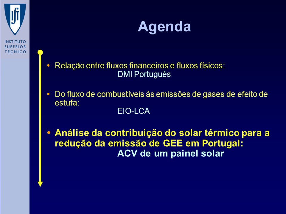 Agenda Relação entre fluxos financeiros e fluxos físicos: DMI Português Do fluxo de combustíveis às emissões de gases de efeito de estufa: EIO-LCA Aná