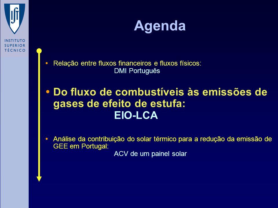Agenda Relação entre fluxos financeiros e fluxos físicos: DMI Português Do fluxo de combustíveis às emissões de gases de efeito de estufa: EIO-LCA Análise da contribuição do solar térmico para a redução da emissão de GEE em Portugal: ACV de um painel solar