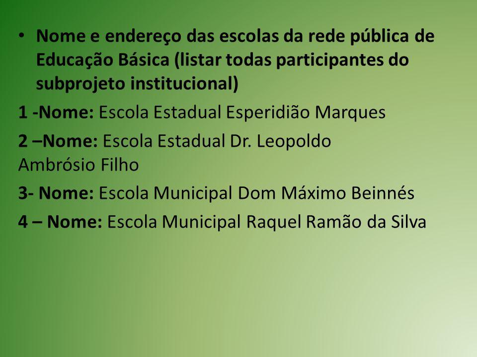 Nome e endereço das escolas da rede pública de Educação Básica (listar todas participantes do subprojeto institucional) 1 -Nome: Escola Estadual Esper