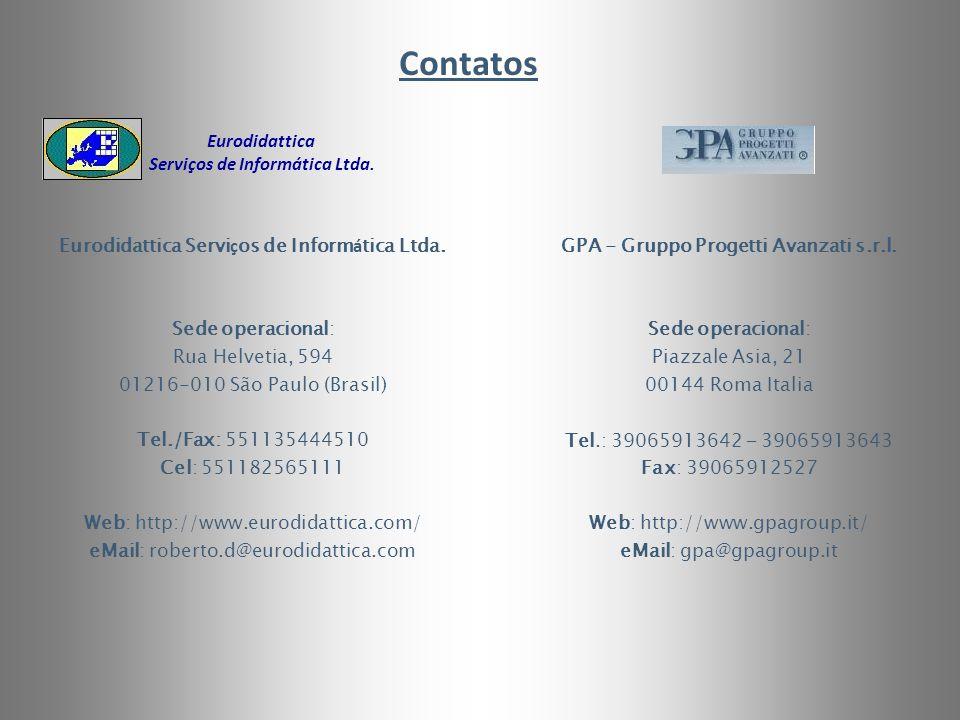 GPA - Gruppo Progetti Avanzati s.r.l. Sede operacional: Piazzale Asia, 21 00144 Roma Italia Tel.: 39065913642 – 39065913643 Fax: 39065912527 Web: http