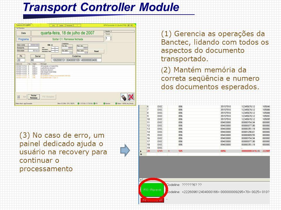Transport Controller Module (1) Gerencia as operações da Banctec, lidando com todos os aspectos do documento transportado. ( 2) Mantém memória da corr