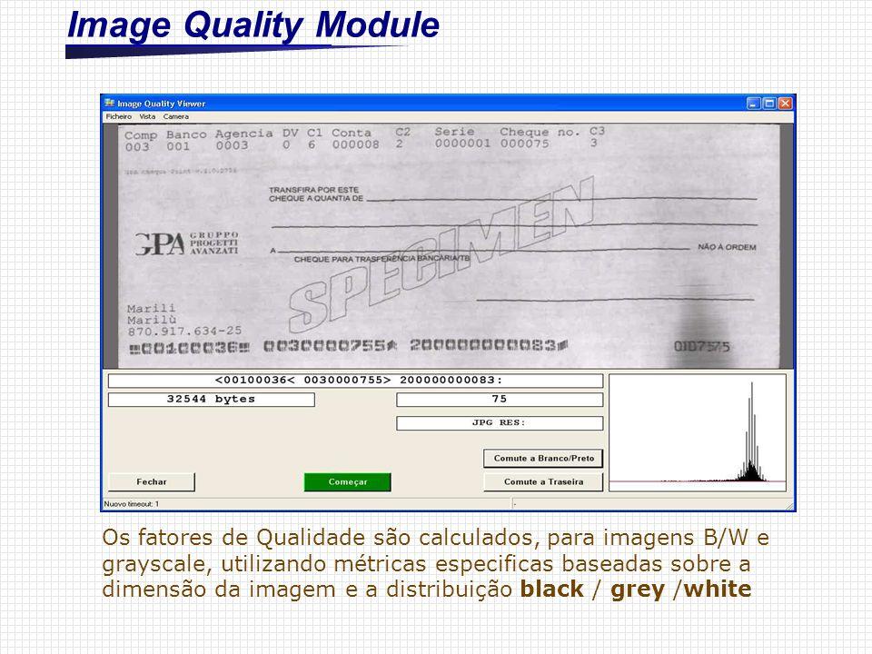 Image Quality Module Os fatores de Qualidade são calculados, para imagens B/W e grayscale, utilizando métricas especificas baseadas sobre a dimensão d