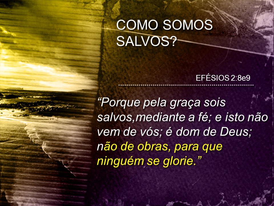 """EFÉSIOS 2:8e9 """"Porque pela graça sois salvos,mediante a fé; e isto não vem de vós; é dom de Deus; não de obras, para que ninguém se glorie."""" COMO SOMO"""