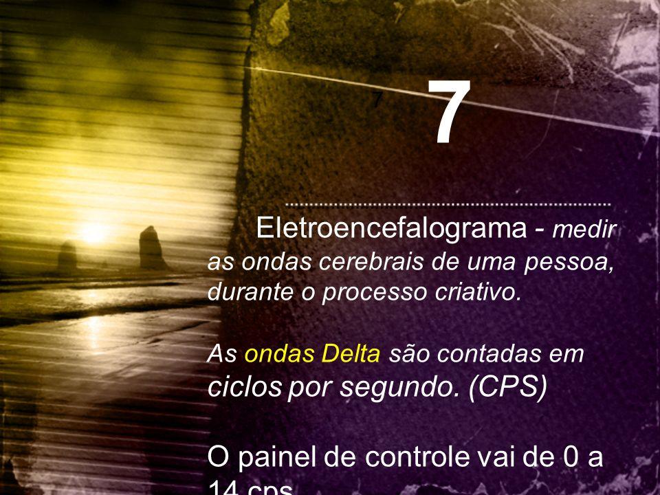 7 7 Eletroencefalograma - medir as ondas cerebrais de uma pessoa, durante o processo criativo. As ondas Delta são contadas em ciclos por segundo. (CPS