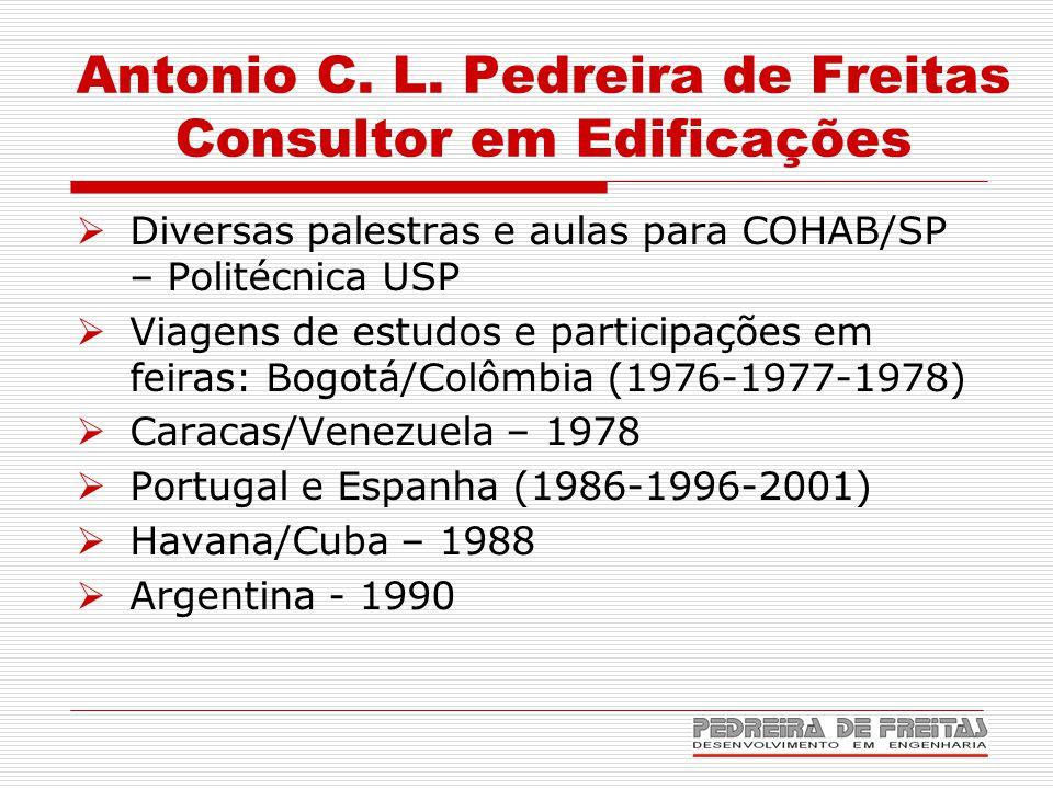 Antonio C. L. Pedreira de Freitas Consultor em Edificações  Diversas palestras e aulas para COHAB/SP – Politécnica USP  Viagens de estudos e partici