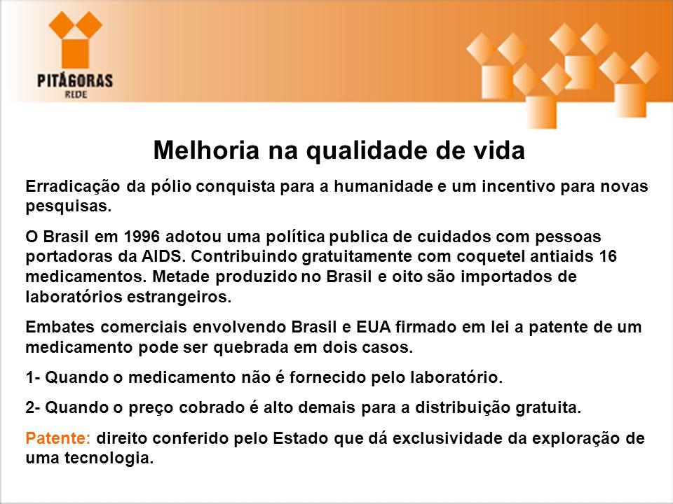 Melhoria na qualidade de vida Erradicação da pólio conquista para a humanidade e um incentivo para novas pesquisas. O Brasil em 1996 adotou uma políti