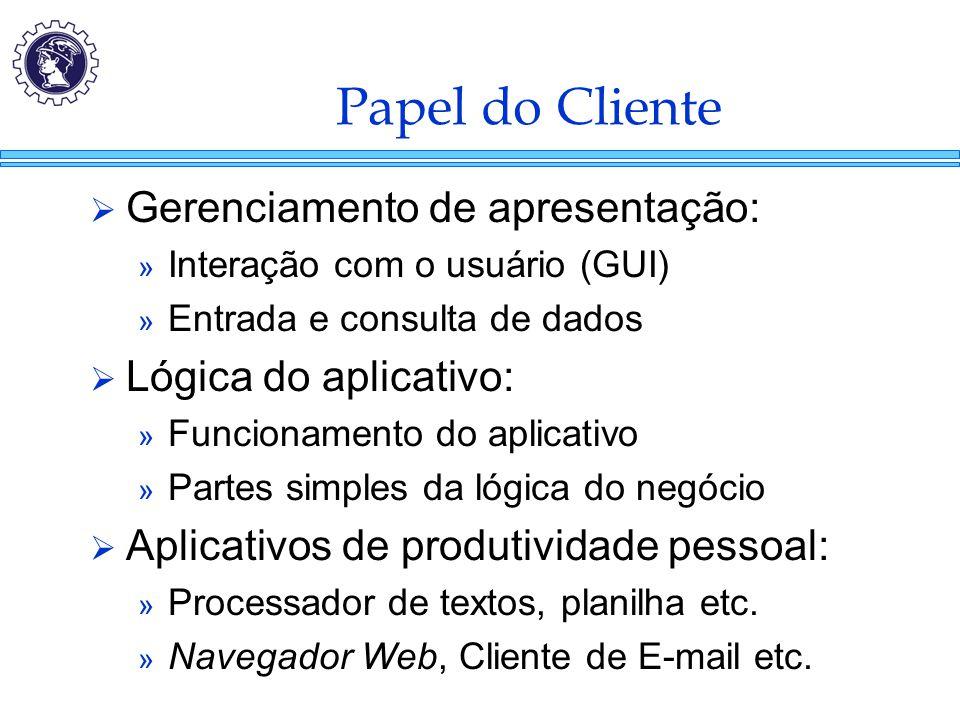 Papel do Cliente  Gerenciamento de apresentação: » Interação com o usuário (GUI) » Entrada e consulta de dados  Lógica do aplicativo: » Funcionament