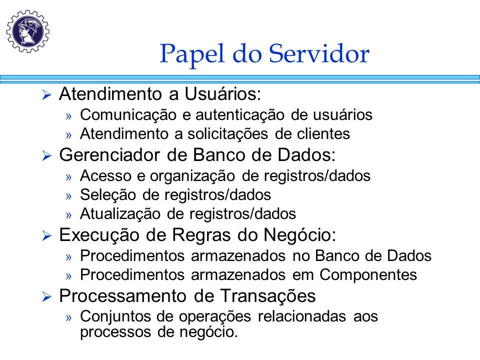 Papel do Servidor  Atendimento a Usuários: » Comunicação e autenticação de usuários » Atendimento a solicitações de clientes  Gerenciador de Banco d