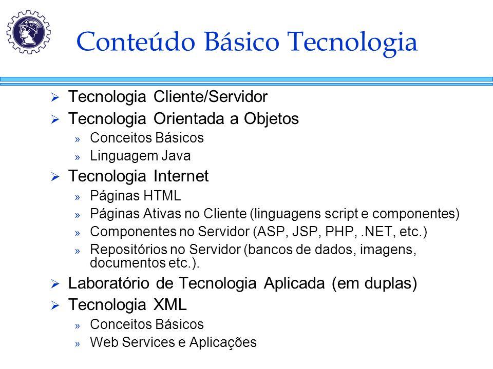 Conteúdo Básico Tecnologia  Tecnologia Cliente/Servidor  Tecnologia Orientada a Objetos » Conceitos Básicos » Linguagem Java  Tecnologia Internet »