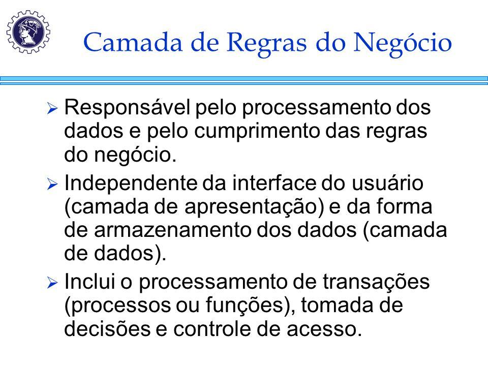 Camada de Regras do Negócio  Responsável pelo processamento dos dados e pelo cumprimento das regras do negócio.  Independente da interface do usuári
