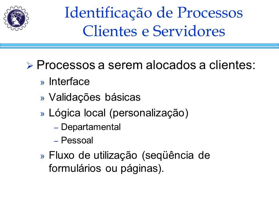 Identificação de Processos Clientes e Servidores  Processos a serem alocados a clientes: » Interface » Validações básicas » Lógica local (personaliza