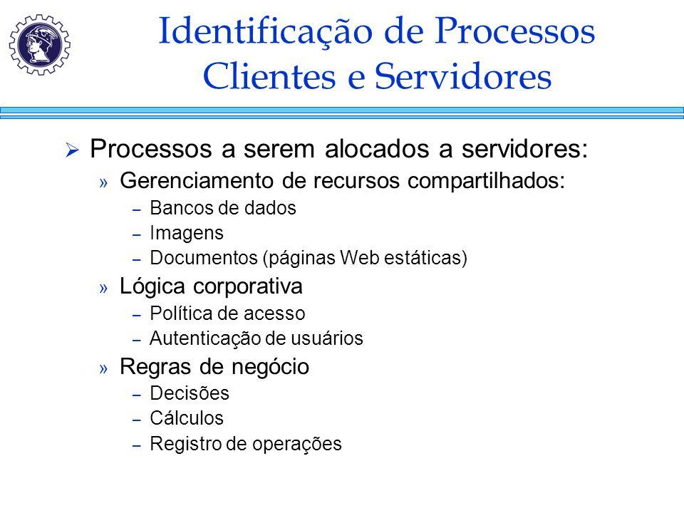 Identificação de Processos Clientes e Servidores  Processos a serem alocados a servidores: » Gerenciamento de recursos compartilhados: – Bancos de da