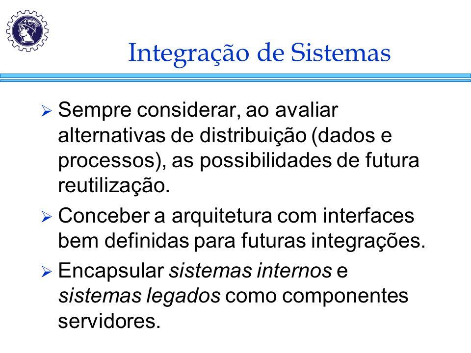 Integração de Sistemas  Sempre considerar, ao avaliar alternativas de distribuição (dados e processos), as possibilidades de futura reutilização.  C