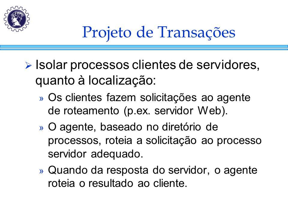 Projeto de Transações  Isolar processos clientes de servidores, quanto à localização: » Os clientes fazem solicitações ao agente de roteamento (p.ex.