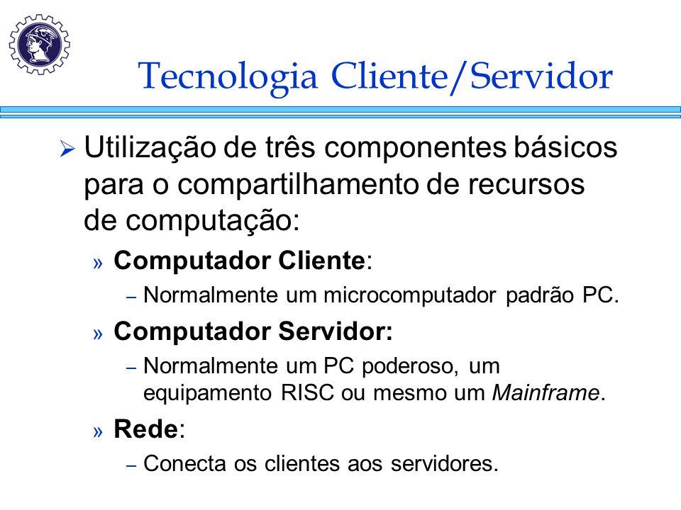 Tecnologia Cliente/Servidor  Utilização de três componentes básicos para o compartilhamento de recursos de computação: » Computador Cliente: – Normal