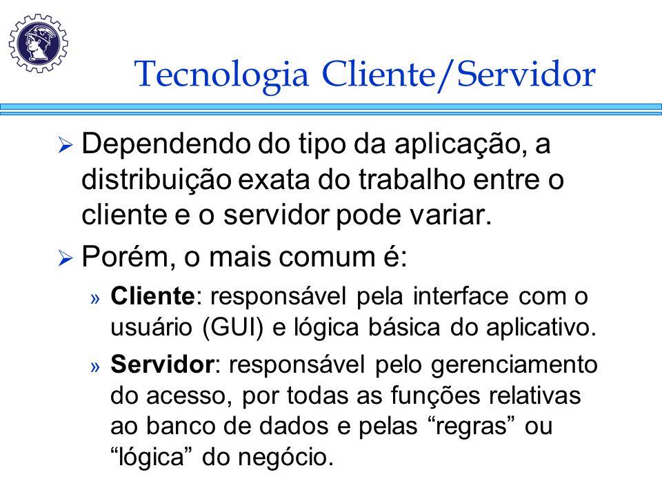 Tecnologia Cliente/Servidor  Dependendo do tipo da aplicação, a distribuição exata do trabalho entre o cliente e o servidor pode variar.  Porém, o m