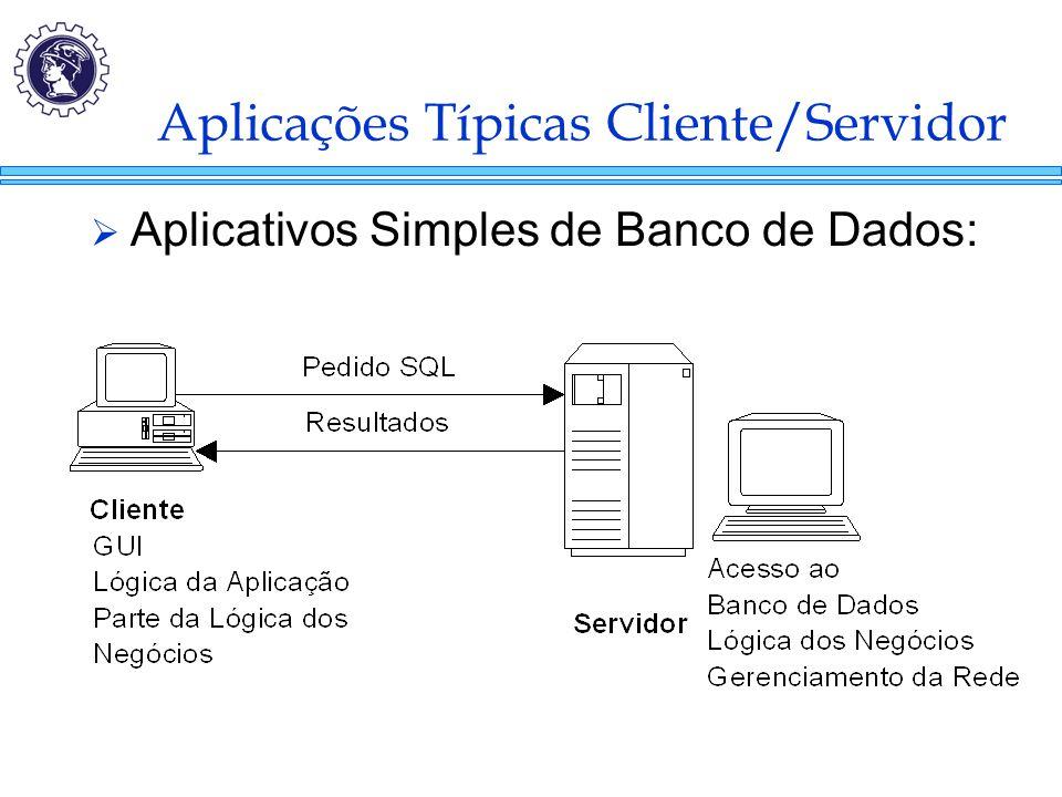 Aplicações Típicas Cliente/Servidor  Aplicativos Simples de Banco de Dados: