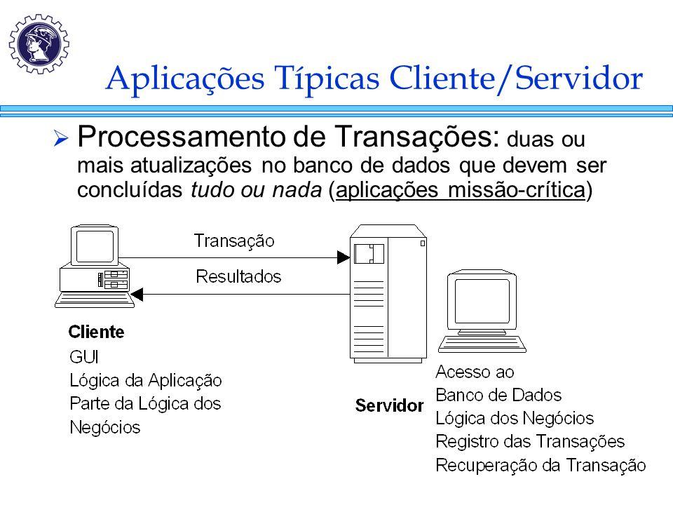 Aplicações Típicas Cliente/Servidor  Processamento de Transações: duas ou mais atualizações no banco de dados que devem ser concluídas tudo ou nada (