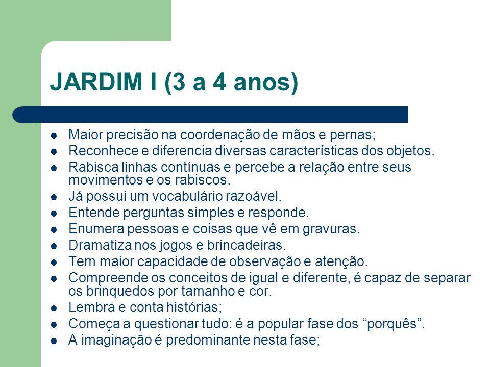 JARDIM I (3 a 4 anos) Maior precisão na coordenação de mãos e pernas; Reconhece e diferencia diversas características dos objetos. Rabisca linhas cont