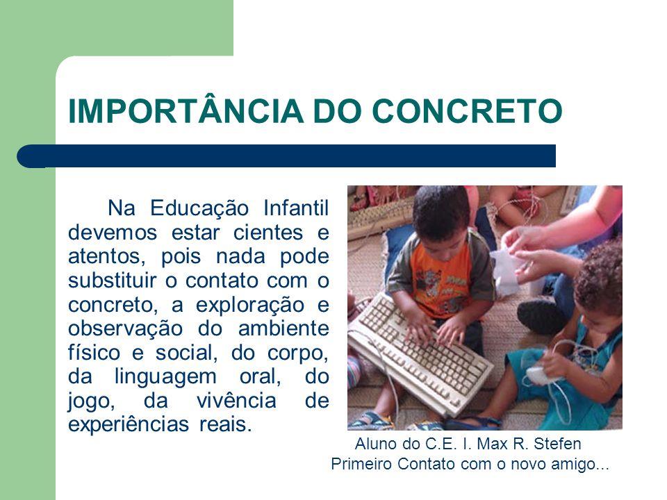 IMPORTÂNCIA DO CONCRETO Na Educação Infantil devemos estar cientes e atentos, pois nada pode substituir o contato com o concreto, a exploração e obser