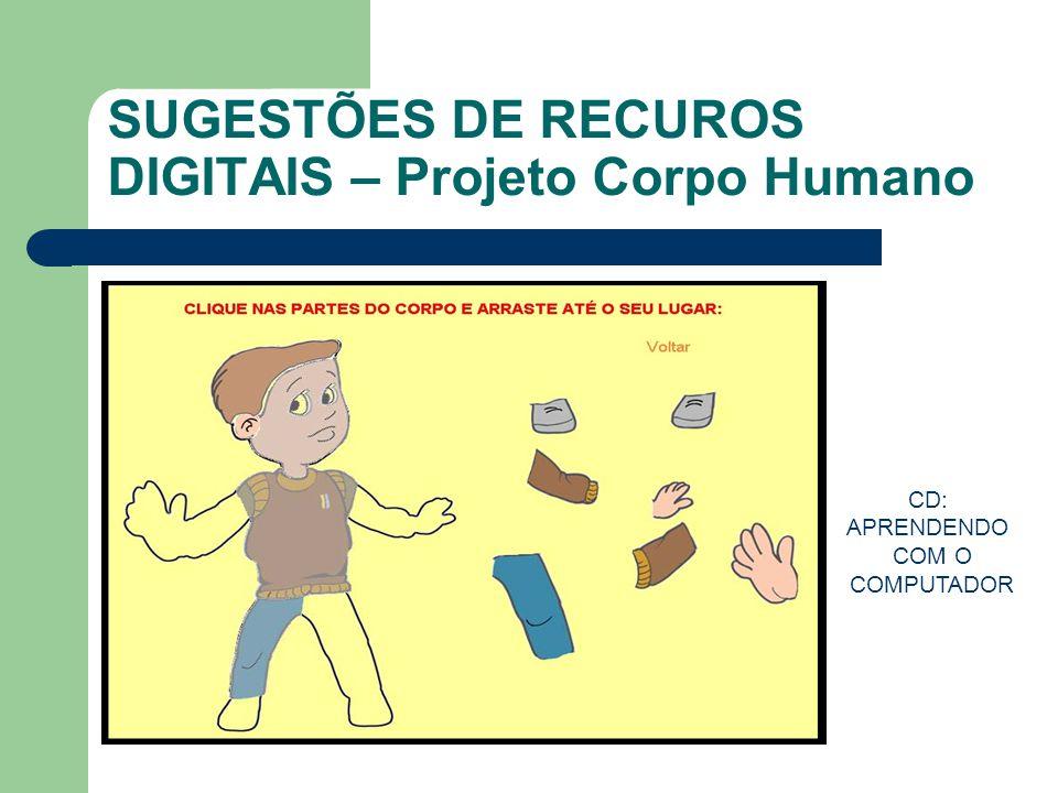 SUGESTÕES DE RECUROS DIGITAIS – Projeto Corpo Humano CD: APRENDENDO COM O COMPUTADOR