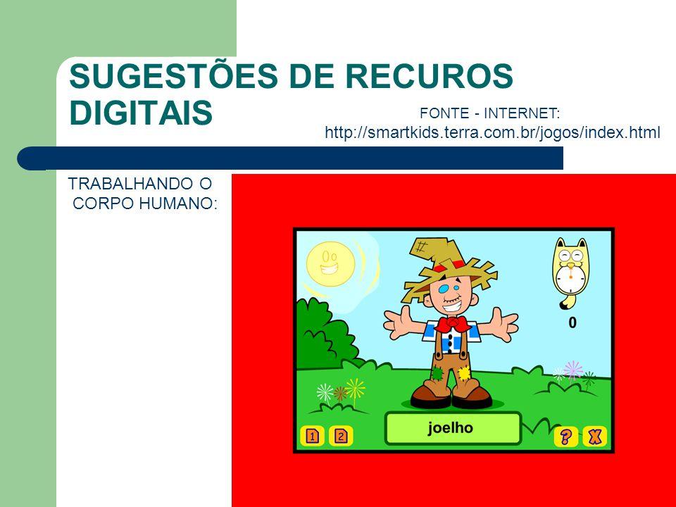 SUGESTÕES DE RECUROS DIGITAIS TRABALHANDO O CORPO HUMANO: FONTE - INTERNET: http://smartkids.terra.com.br/jogos/index.html
