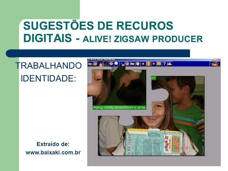 SUGESTÕES DE RECUROS DIGITAIS - ALIVE! ZIGSAW PRODUCER TRABALHANDO IDENTIDADE: Extraído de: www.baixaki.com.br