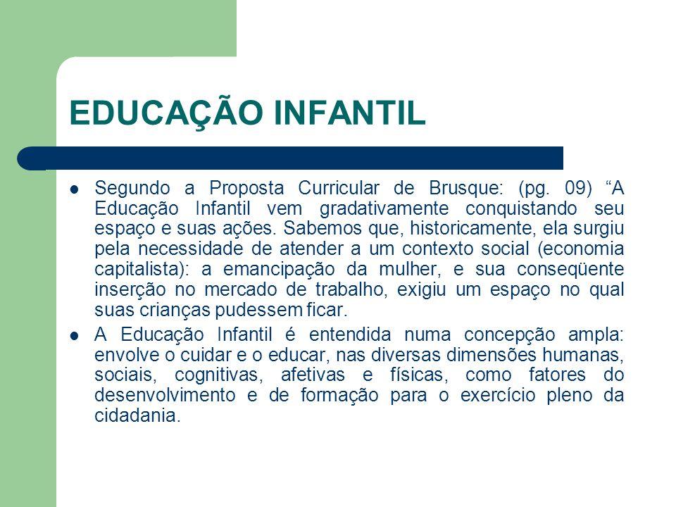 """EDUCAÇÃO INFANTIL Segundo a Proposta Curricular de Brusque: (pg. 09) """"A Educação Infantil vem gradativamente conquistando seu espaço e suas ações. Sab"""