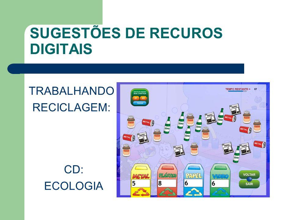 SUGESTÕES DE RECUROS DIGITAIS TRABALHANDO RECICLAGEM: CD: ECOLOGIA