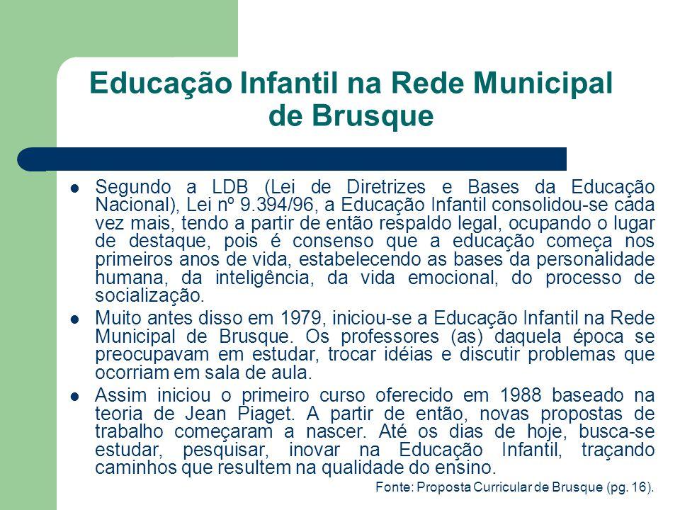 Educação Infantil na Rede Municipal de Brusque Segundo a LDB (Lei de Diretrizes e Bases da Educação Nacional), Lei nº 9.394/96, a Educação Infantil co