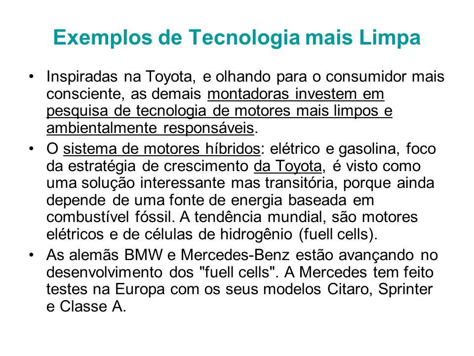 Exemplos de Tecnologia mais Limpa Inspiradas na Toyota, e olhando para o consumidor mais consciente, as demais montadoras investem em pesquisa de tecnologia de motores mais limpos e ambientalmente responsáveis.