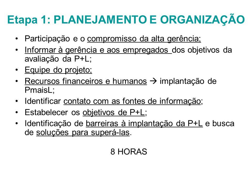 Etapa 1: PLANEJAMENTO E ORGANIZAÇÃO Participação e o compromisso da alta gerência; Informar à gerência e aos empregados dos objetivos da avaliação da P+L; Equipe do projeto; Recursos financeiros e humanos  implantação de PmaisL; Identificar contato com as fontes de informação; Estabelecer os objetivos de P+L; Identificação de barreiras à implantação da P+L e busca de soluções para superá-las.