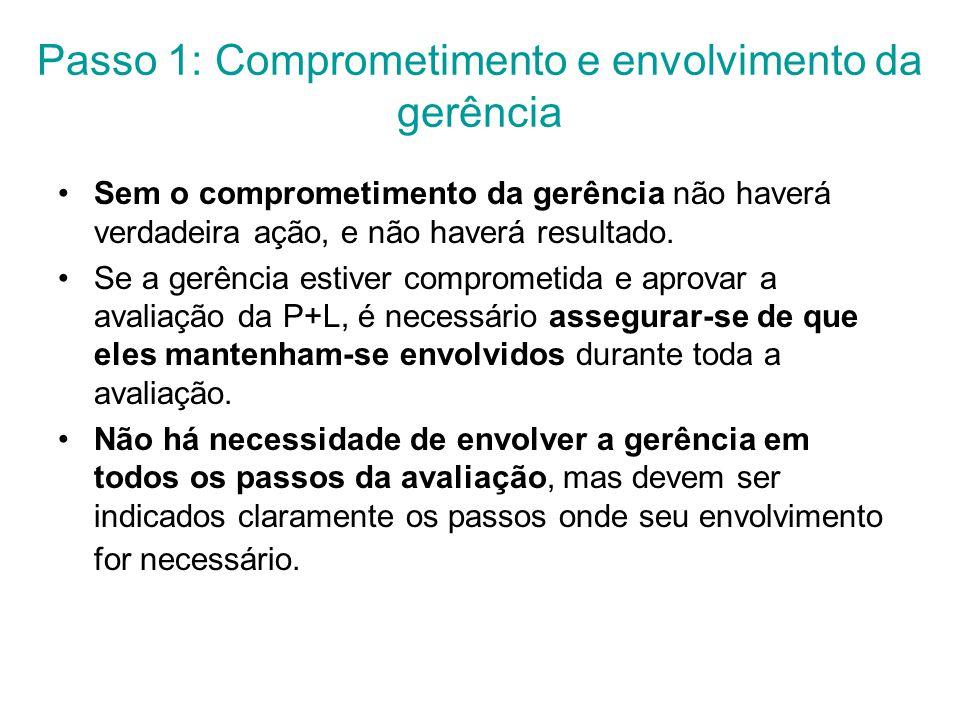 Passo 1: Comprometimento e envolvimento da gerência Sem o comprometimento da gerência não haverá verdadeira ação, e não haverá resultado.
