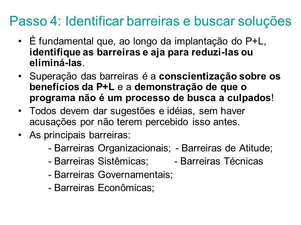 Passo 4: Identificar barreiras e buscar soluções É fundamental que, ao longo da implantação do P+L, identifique as barreiras e aja para reduzi-las ou eliminá-las.