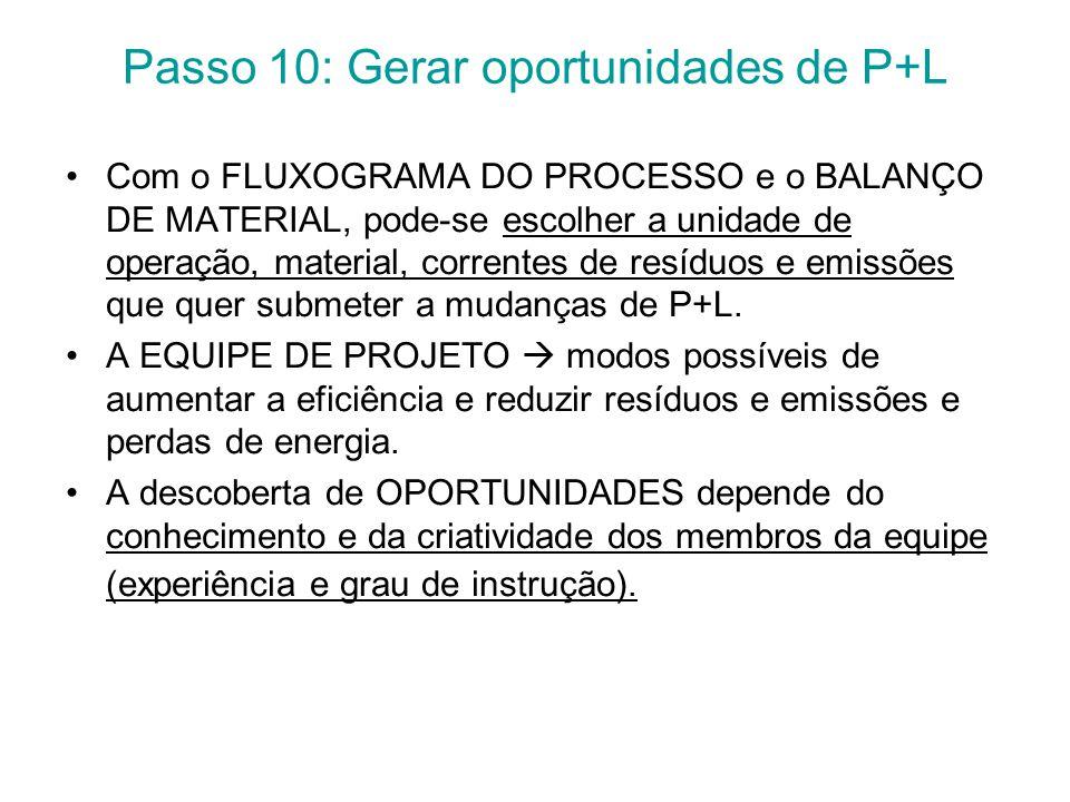 Passo 10: Gerar oportunidades de P+L Com o FLUXOGRAMA DO PROCESSO e o BALANÇO DE MATERIAL, pode-se escolher a unidade de operação, material, correntes de resíduos e emissões que quer submeter a mudanças de P+L.