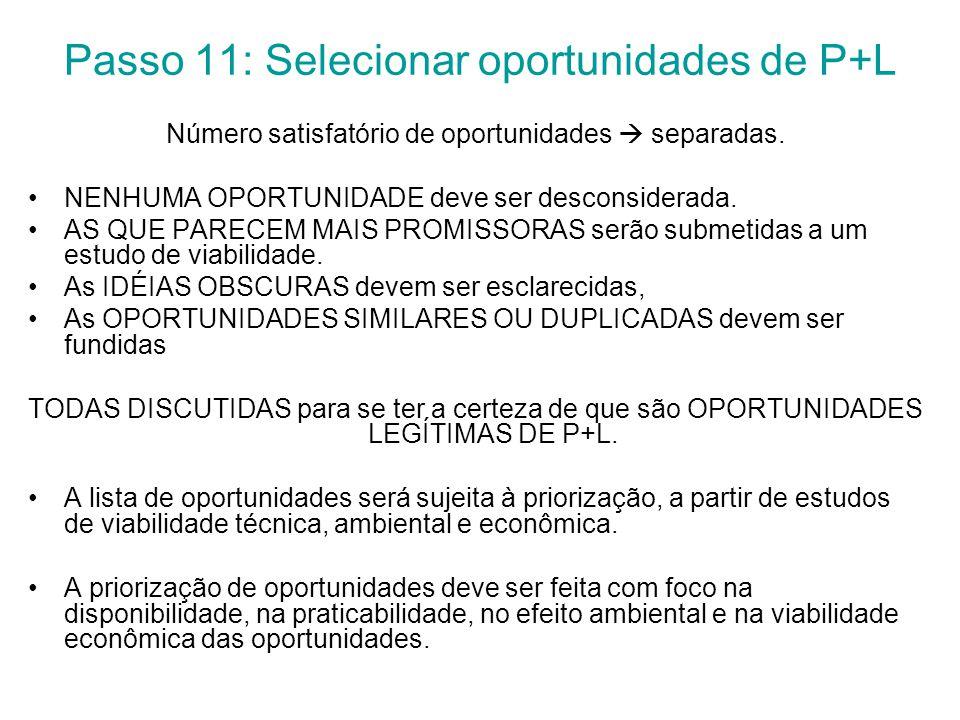 Passo 11: Selecionar oportunidades de P+L Número satisfatório de oportunidades  separadas.