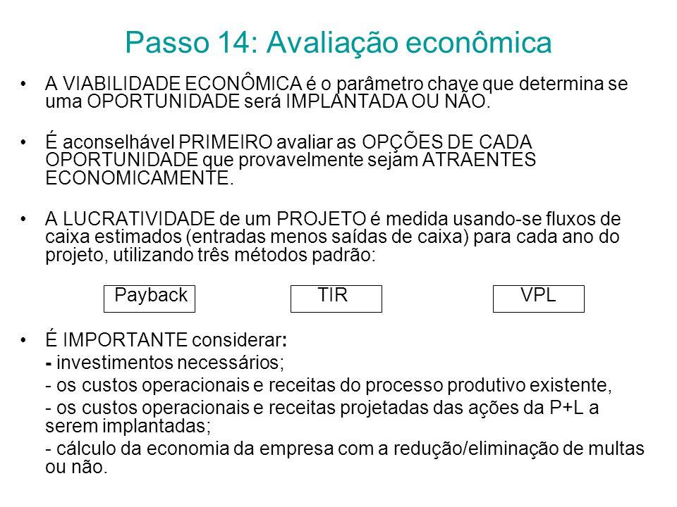 Passo 14: Avaliação econômica A VIABILIDADE ECONÔMICA é o parâmetro chave que determina se uma OPORTUNIDADE será IMPLANTADA OU NÃO.