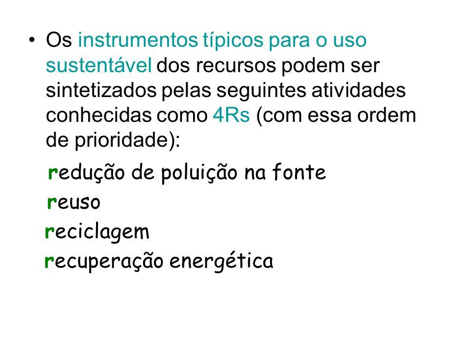 Os instrumentos típicos para o uso sustentável dos recursos podem ser sintetizados pelas seguintes atividades conhecidas como 4Rs (com essa ordem de prioridade): redução de poluição na fonte reuso reciclagem recuperação energética