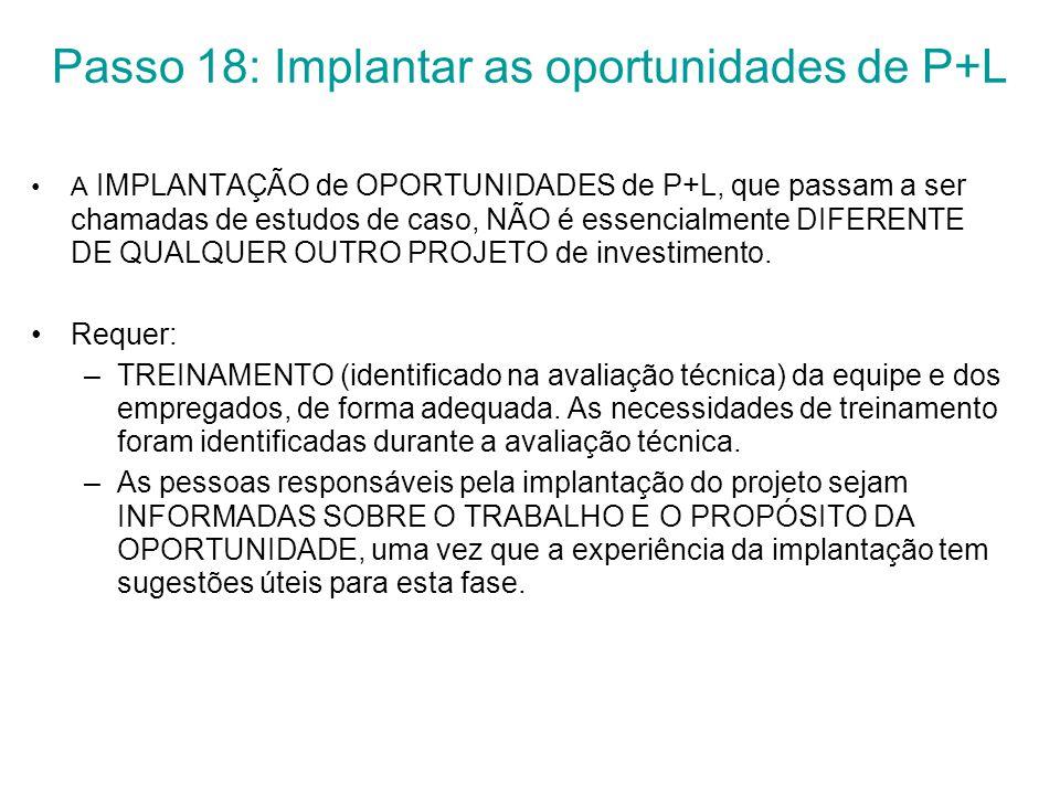 Passo 18: Implantar as oportunidades de P+L A IMPLANTAÇÃO de OPORTUNIDADES de P+L, que passam a ser chamadas de estudos de caso, NÃO é essencialmente DIFERENTE DE QUALQUER OUTRO PROJETO de investimento.